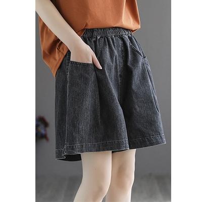 純棉水洗牛仔短褲 鬆緊腰寬鬆闊腿短褲/2色-夢想家-0329