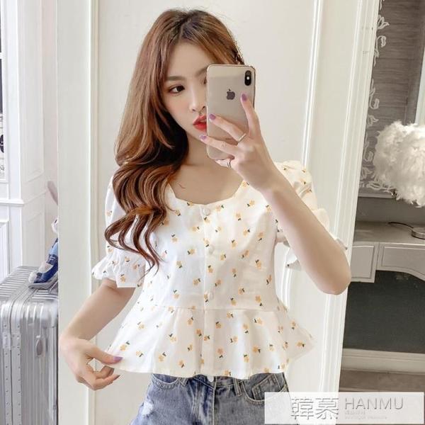甜美短袖襯衫女設計感小眾2021夏季新款娃娃衫韓版方領短款上衣潮 夏季新品