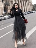 很仙的洋裝2020春款新款長袖嗽叭袖網紗中長款黑色紗裙子女春秋 童趣