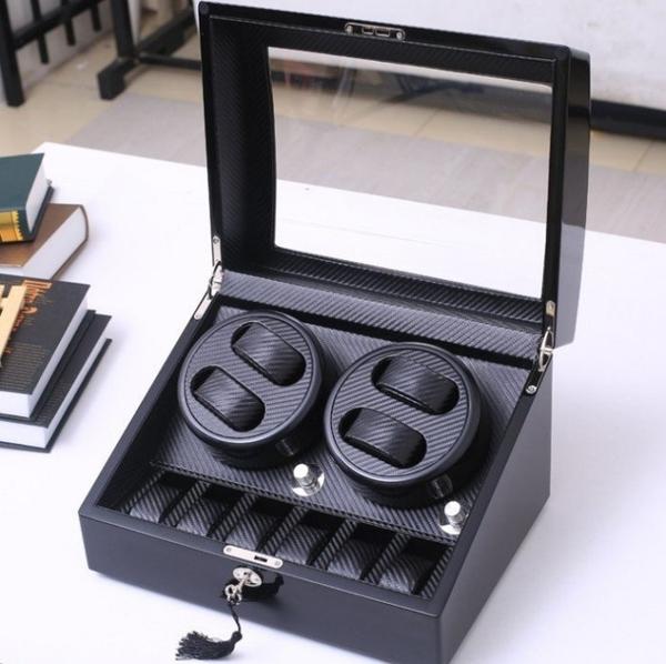 新升級LED消磁燈.全自動上鍊鋼琴烤漆+碳纖維紋4+6位旋鈕款自動上鏈錶盒 機械錶收納盒收藏盒