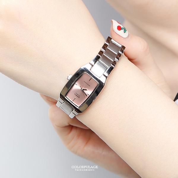 CASIO卡西歐 長方錶框粉面手錶 女孩質感鐵錶 有保固【NEC95】原廠公司貨