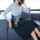 中尺碼長袖洋裝 2019秋裝新款時尚條紋拼接裙修身顯瘦收腰大擺氣質襯衫連身裙