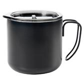 不鏽鋼咖啡杯 350ml /附蓋『黑色』戶外 露營 登山 馬克杯 不銹鋼杯 隔熱杯 野餐杯 18-18075A
