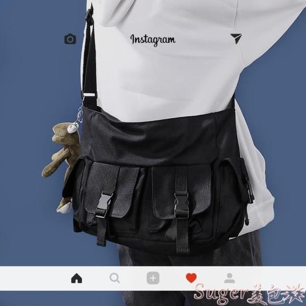 斜背包日系ins純色斜背包男大容量工裝帆布包休閒百搭學生側背包女 suger