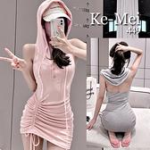 克妹Ke-Mei【AT68951】PINK芭比甜心性感大露背抽繩連帽洋裝