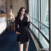 連身裙.時尚網紅女神赫本風小黑裙黑色氣質連身裙兩件套..花戀小鋪