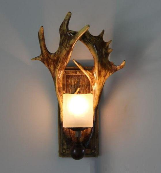 現貨-壁燈 出口歐美創意鹿角燈美式后現代新中式三角咖啡廳鹿角 - 古梵希8-5