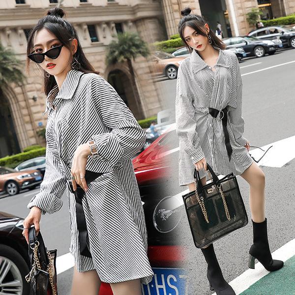 VK旗艦店 韓國風復古收腰襯衫配皮帶修身長袖洋裝
