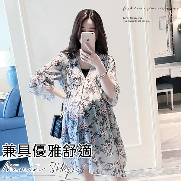 孕婦裝 MIMI別走【P52531】甜心質感 兩件式花兒雪紡 連身裙 孕婦洋裝 孕婦裙