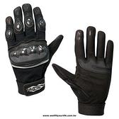 [WELL FIT 威飛客] 山羊皮 碳纖維皮革重機手套/合身型-黑色