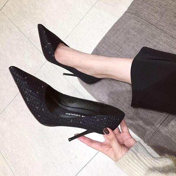 2020春季新款百搭小清新黑色法式少女高跟鞋女細跟尖頭網紅秋夏單