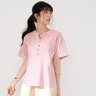 【慢。生活】交錯設計色織條紋小衫 8593  FREE 粉紅條