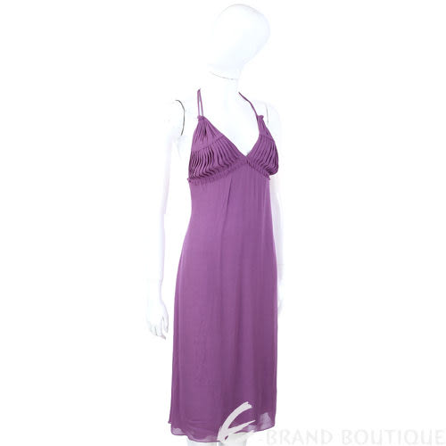 ALBERTA FERRETTI 紫色抓褶細肩帶洋裝 0510916-04