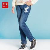 JJLKIDS 女童 氣質珍珠字母牛仔褲(牛仔藍)