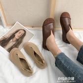 娃娃鞋 森女系女鞋2020春新款軟底牛筋單鞋大頭娃娃鞋平底圓頭復古奶奶鞋