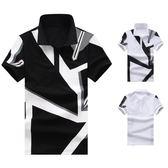 短袖polo衫【2件998】 新款平鋪幾何印花男士歐碼短袖T恤 POLO
