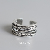 s925純銀戒指復古做舊麻花纏繞指環潮流個性女款銀戒chic韓版飾品