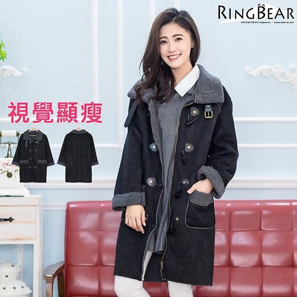 外套大衣--經典時尚北歐風格大翻領牛角釦QQ毛內裡雙口袋麂皮大衣(黑XL-3L)-J313眼圈熊中大尺碼