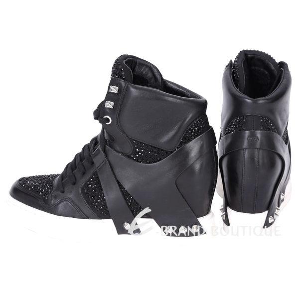 ASH Eden Hi Top 鑽飾內增高羊皮休閒鞋(黑色) 1620006-01