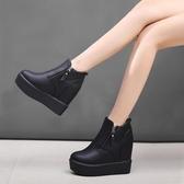 馬丁靴坡跟厚底內增高女士短靴高跟靴子棉鞋女夏馬丁靴女靴【快速出貨】