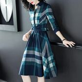 中尺碼長袖洋裝 2019秋裝新款時尚連身裙女不規則收腰通勤格子襯衫裙子