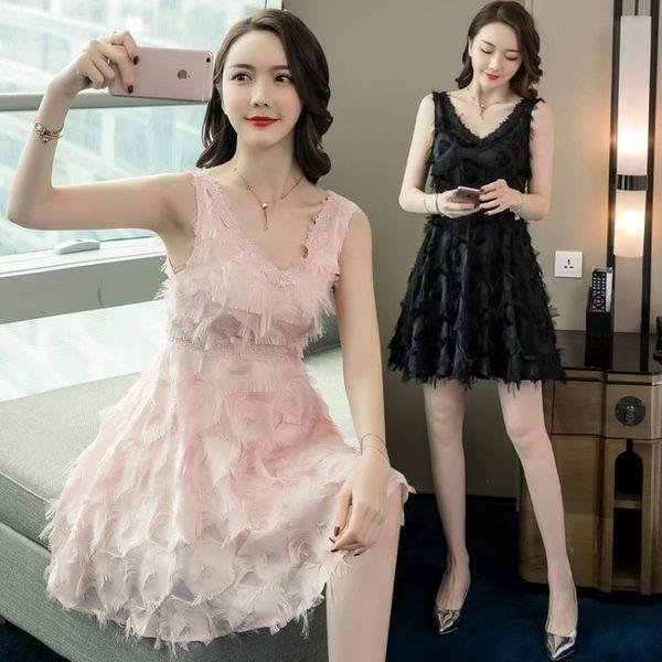 短袖洋裝促銷不退換0830氣質修身性感V領露背收腰顯瘦羽毛流蘇連身裙G-BF04B朵維思25