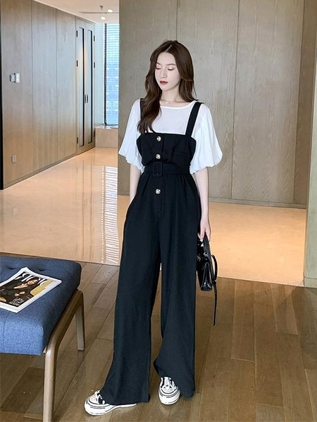 連身褲吊帶褲女兩件套裝洋氣減齡韓版寬鬆寬管春秋2021年新款連體衣褲子 艾莎
