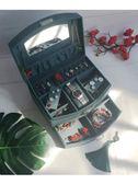 聖誕回饋 復古首飾盒墨綠帶鎖手飾盒珠寶盒歐式飾品盒收納盒大紅化妝盒帶鏡