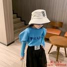 女童泡泡袖上衣新款中大童洋氣純棉韓版長袖打底短款T恤【齊心88】