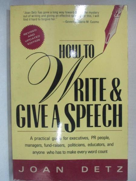 【書寶二手書T7/溝通_HSV】How to Write & Give a Speech_Joan Detz