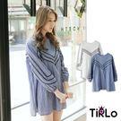 棉麻上衣-Tirlo-縮口曲線織紋娃娃上衣-兩色