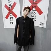 長袖襯衫-純色歐美秀場特殊袖子設計男上衣2色73po24【巴黎精品】