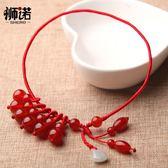 獅諾紅瑪瑙腳錬紅繩女款復古手工編織足錬轉運珠簡約飾品禮物 至簡元素