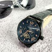 KINYUED 國王鏤空機械錶 日月星辰 鑲鑽羅馬三眼陀飛輪機械男錶 真皮 黑x玫瑰金 K050皮黑