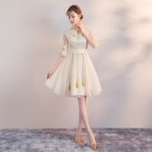 旗袍洋裝短款秋季學生清新少女改良版中國風小禮服顯瘦