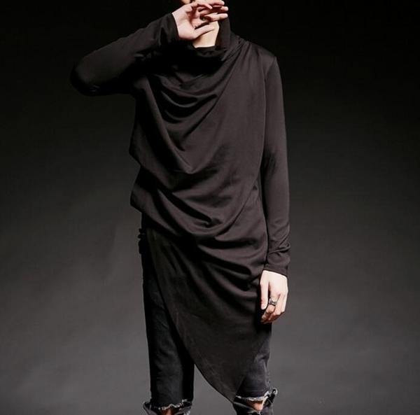 FINDSENSE 韓國潮流 個性 不規則 高領 層次感 夜店 時尚 街頭潮男必