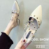 拖鞋女外穿2019夏季新款鞋子鉚釘夏尖頭粗跟包頭穆勒半拖鞋 xy4704『東京潮流』