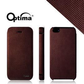 【漢博商城】Optima iPhone 5/5S 義大利針織系列側掀保護套 - 咖啡紅