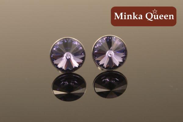 德國鈦鋼紫色慧心石抗敏耳環(一對)(9 mm)
