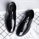 商務正裝結婚鞋子伴郎休閒皮鞋圓頭青年黑色英倫男士潮流休閒鞋男 印象