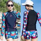 幾何格紋長袖衝浪二件式泳衣.兩件式2件式...