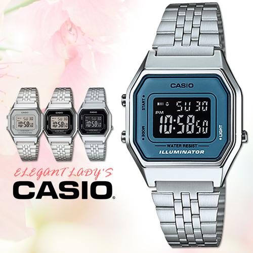 CASIO手錶專賣店 卡西歐 LA680WA-2B 女錶 電子錶 鬧鈴 數字顯示 不銹鋼錶帶
