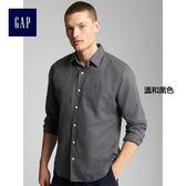 Gap男裝 時尚亞麻棉質混紡長袖襯衫 227688-溫和黑色