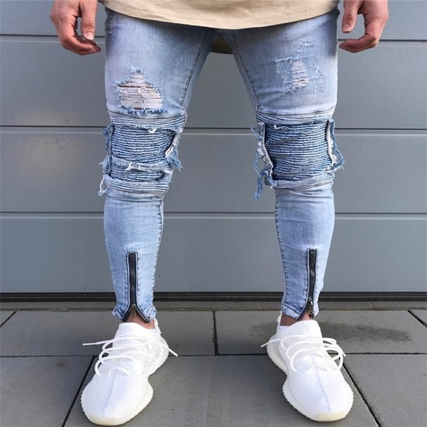 新品特惠# New high-street men's motorcycle jeans Slim fold hole zipper