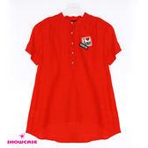 【SHOWCASE】立體肩褶半開襟雪紡襯衫袖(紅)