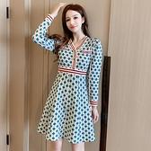 第二件4折 韓國風顯瘦藍綠格紋氣質V領針織連長袖洋裝