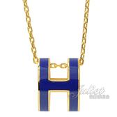 茱麗葉精品【全新現貨】HERMES POPH 經典H LOGO橢圓銀飾項鍊.金/藍