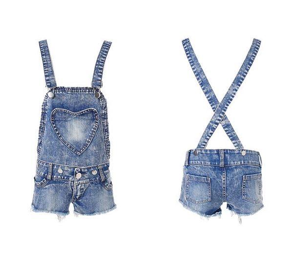 衣美姬♥夏季 新款 愛心造型 韓版吊帶牛仔短褲 時尚修身低腰 吊帶背心短褲 熱賣款