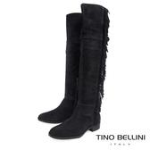Tino Bellini巴西進口不羈流蘇平底過膝靴_ 黑 B69015 歐洲進口款