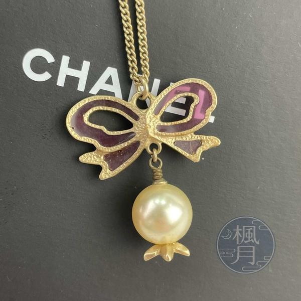 BRAND楓月 CHANEL 香奈兒 05年 粉紅色 蝴蝶結 珍珠花 雙C LOGO 項鍊 飾品 配件